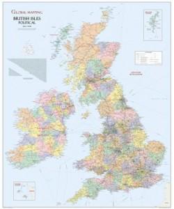 British Isles Political Wall Map