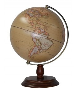 Heritage Antique Wood 25cm World Globe MS-110S5BW
